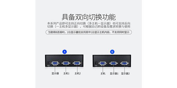 快切式VGA切换器连接方式-胜为科技