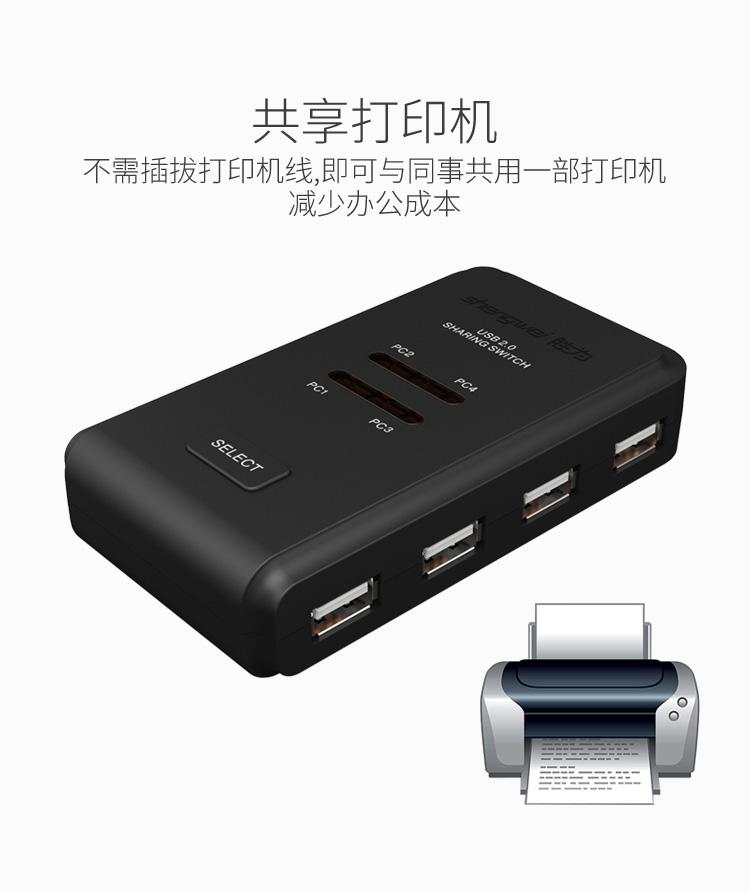 胜为4进4出USB共享切换器US-404----详情03