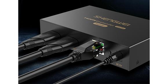 胜为HDMI网线延长器HEC-2200AB发射端连接展示