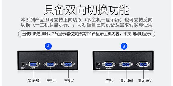 胜为2进1出多电脑VGA切换器VS-3021___连接展示