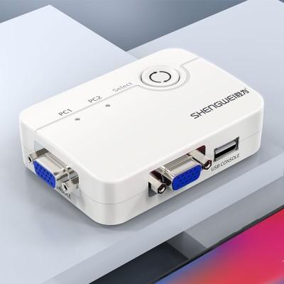 KVM切换器2进1出 VGA视频切屏器配线 USB键鼠打印机共享器KS-302A