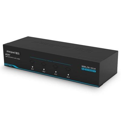 KVM自动切换器4进1出VGA 4口配线带音频 多电脑切换USB键鼠KS-1041UA