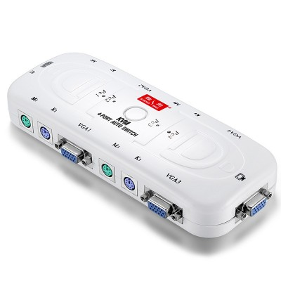 KVM VGA视频切屏器配线 4进1出电脑转换器显示器键鼠PS2共享器KS-104A